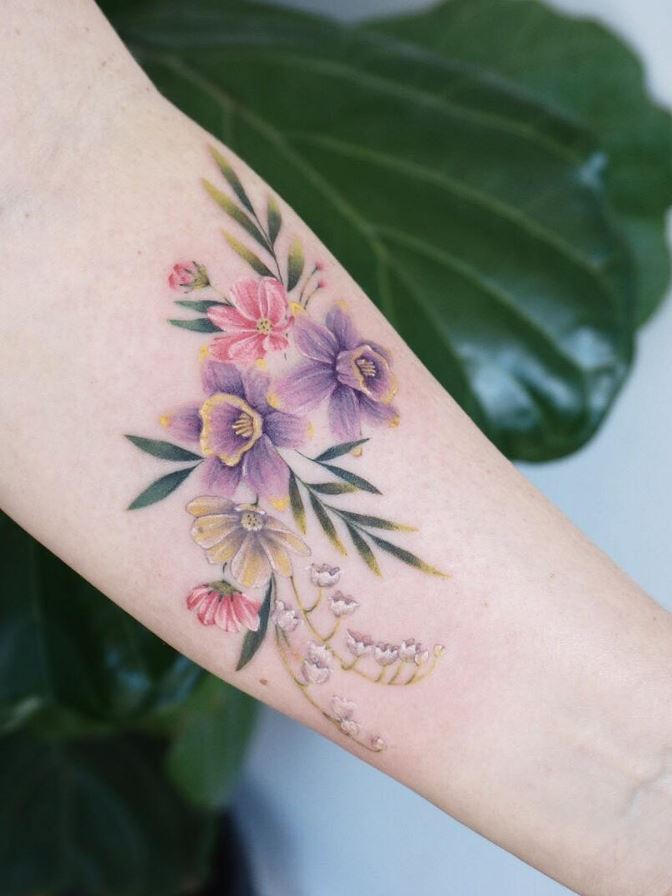 Arm Flowers Tattoo