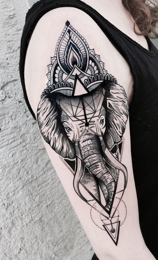 Black & Gray Elephant Tattoo