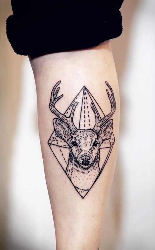 Black and Gray Deer Tattoo