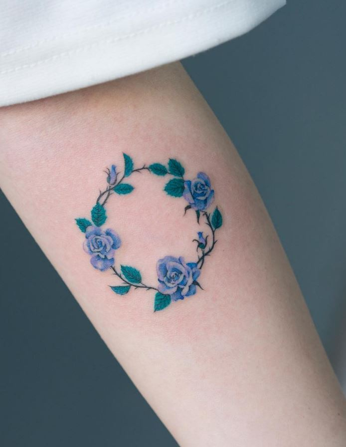Circle of Flowers Tattoo