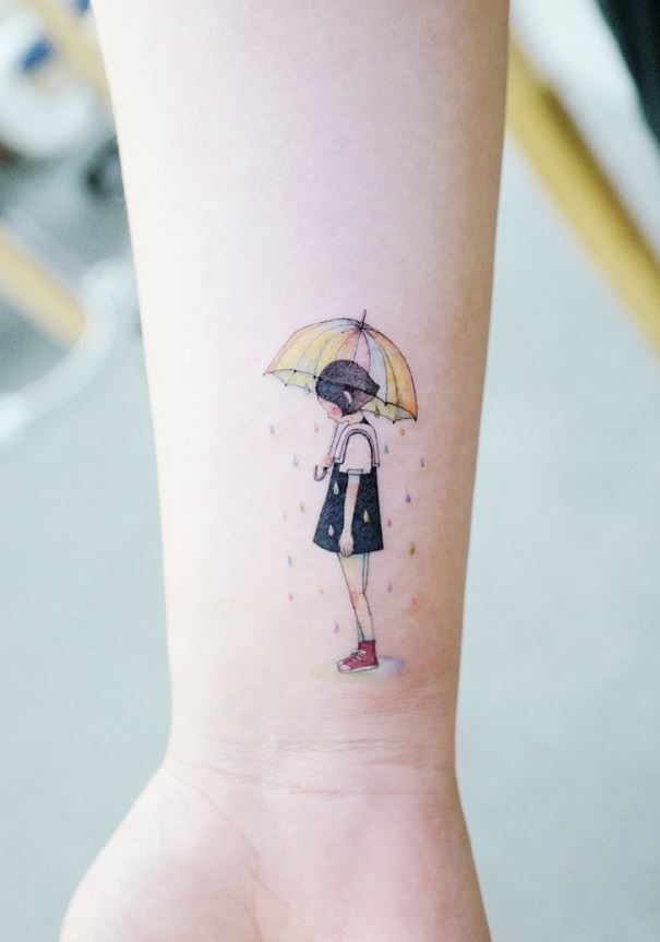 Raining Girl Tattoo