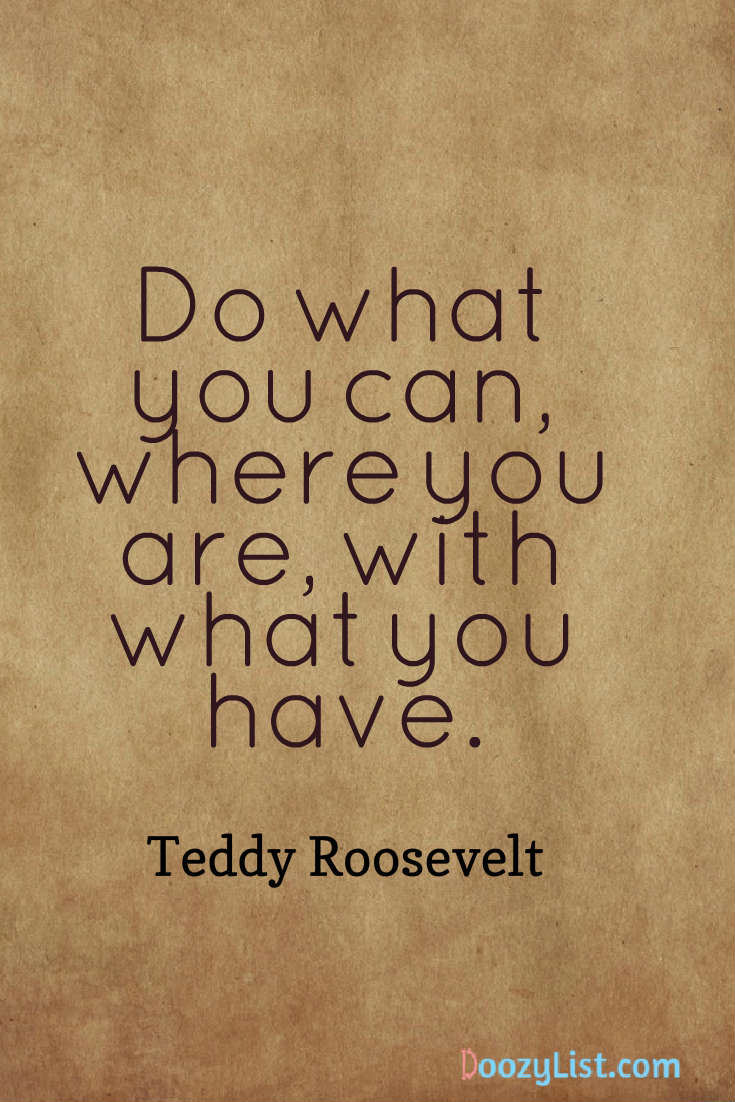 Do what you can, where you are, with what you have. Teddy Roosevelt