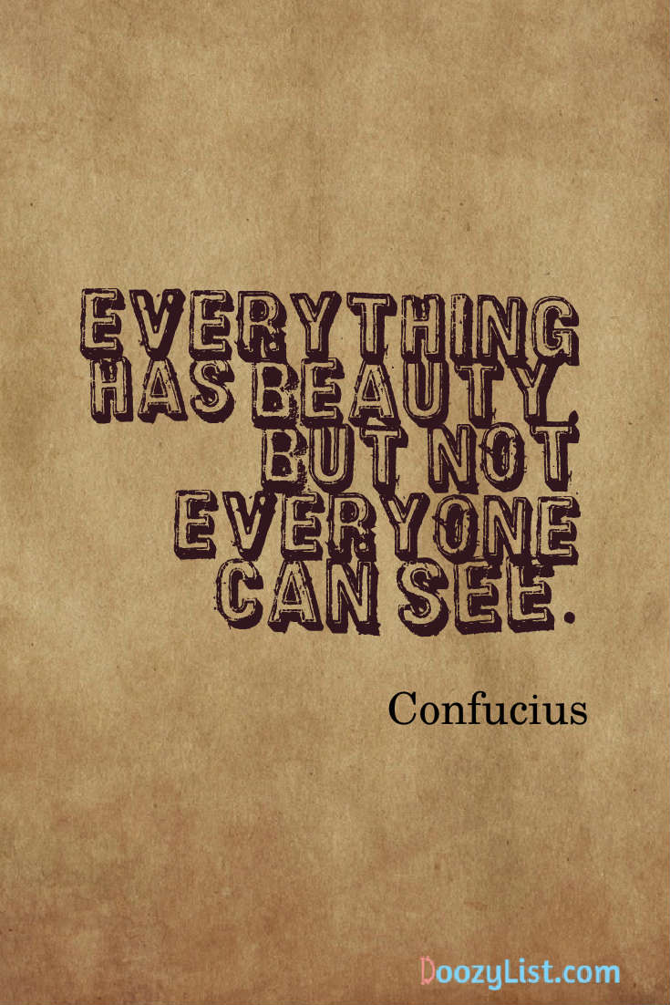 Everything has beauty, but not everyone can see. Confucius
