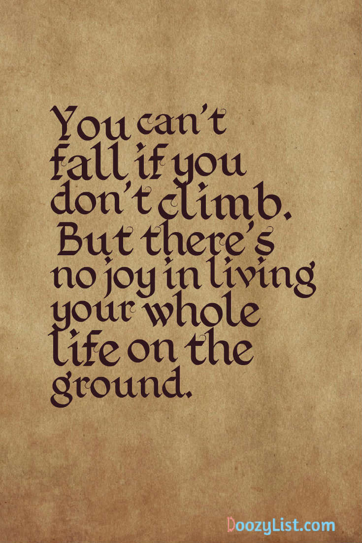 You can't fall if you don't climb. But there's no joy in living your whole life on the ground.