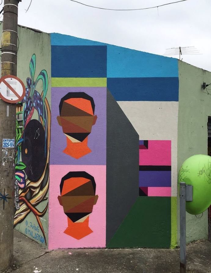 Dope geometric faces painted around São Paulo in Brazil by @guigalle