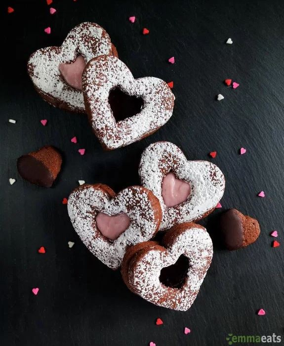 Chocolate Cinnamon Heart Cookies