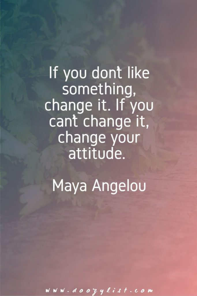 If you don't like something, change it. If you can't change it, change your attitude. Maya Angelou
